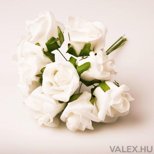 10 szálas polifoam rózsa csokor - Fehér