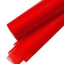 Csillogó fényű organza dekoranyag 23,5cm - Piros