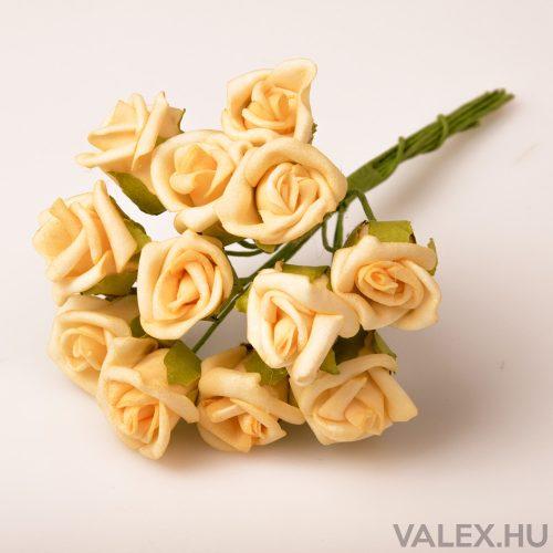 12 fejes polifoam rózsa csokor - Krém