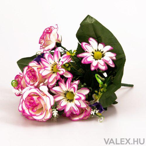 12 ágú rózsa/margaréta selyemvirág csokor - Fehér-Ciklámen