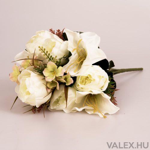 12 ágú peónia/liliom selyemvirág csokor