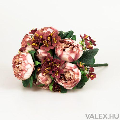 13 ágú peónia/hortenzia selyemvirág csokor - Mályva