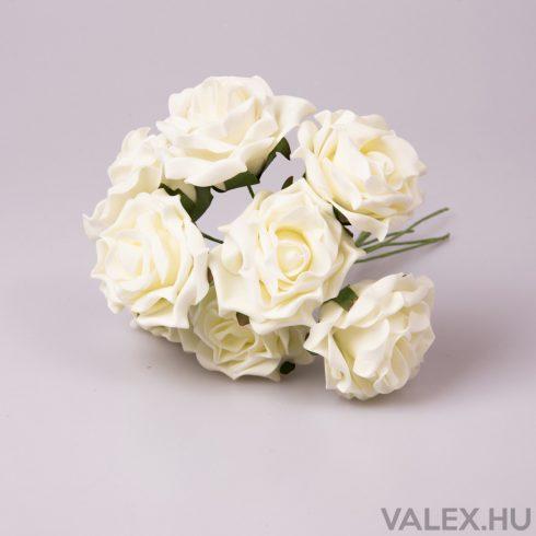 8 szálas polyfoam rózsa köteg - Ekrü