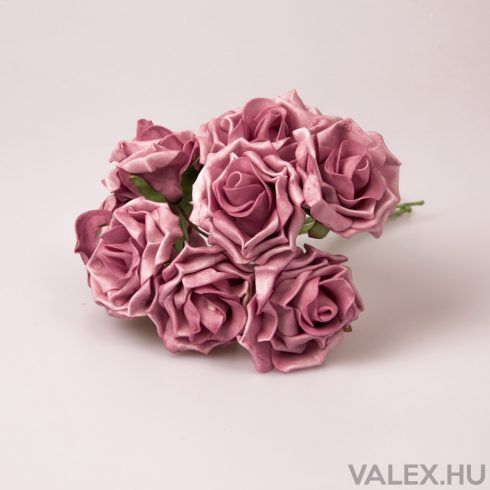8 szálas polyfoam rózsa köteg - Lila