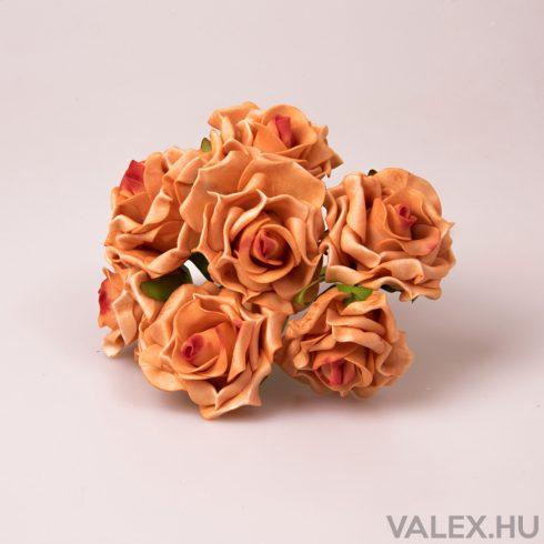 8 szálas polyfoam rózsa köteg - Barack színű