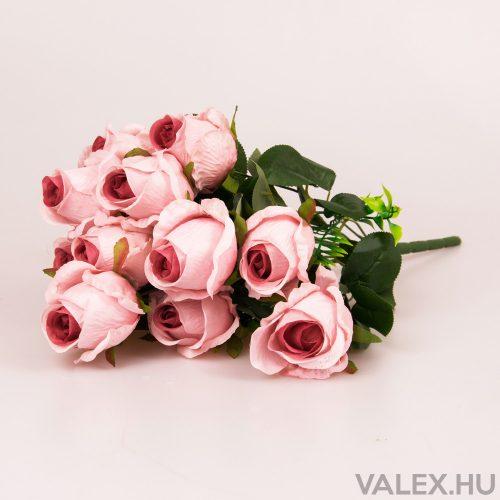 12 ágú rózsabimbó selyemvirág csokor - Lila