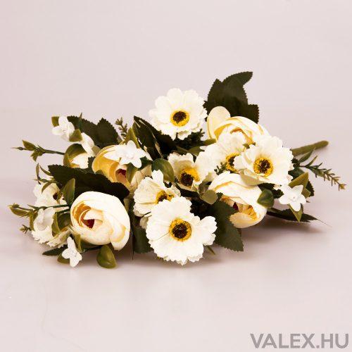 12 ágú boglárka/cínea selyemvirág csokor - Ekrü