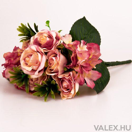 12 ágú rózsa/hortenzia selyemvirág csokor - Pink