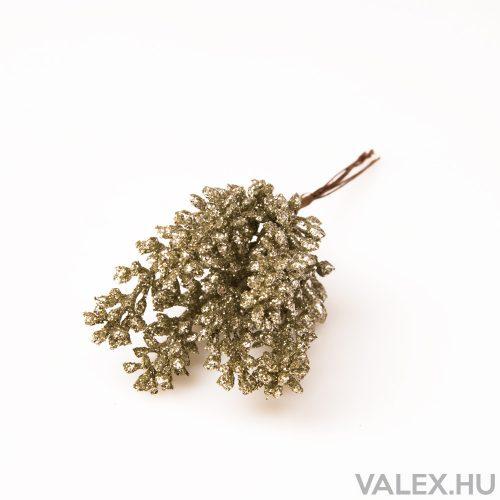 Karácsonyi csillogós pick, 6 szálas köteg, 19cm-es - Zöldes ezüst