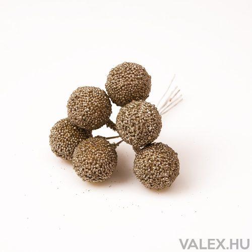 Karácsonyi golyós pick, 6 szálas köteg, 2.5cm-es golyóval - Szürkés arany
