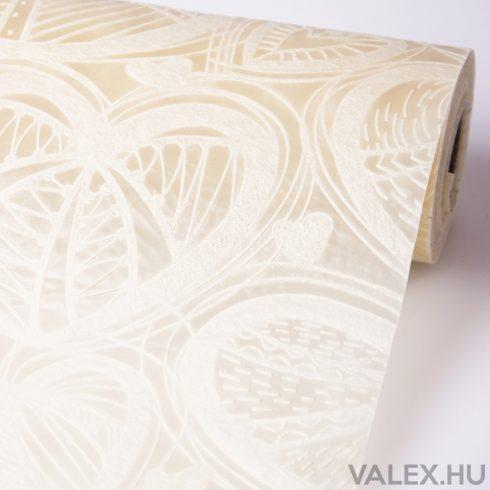 3D Szívlevél mintás vetex 50cm x 4.5m - Ekrü