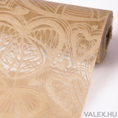 3D Szívlevél mintás vetex 50cm x 4.5m - Bézs