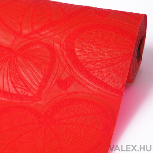 3D Szívlevél mintás vetex 50cm x 4.5m - Piros