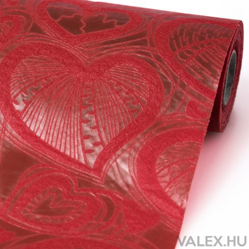 3D Szívlevél mintás vetex 50cm x 4.5m - Bordó