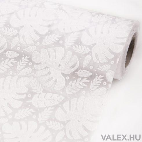 3D Monstera mintás vetex 50cm x 4.5m - Fehér