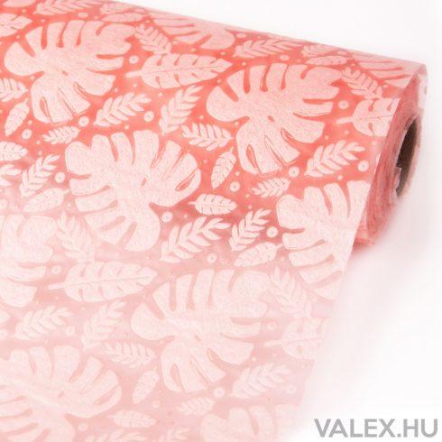 3D Monstera mintás vetex 50cm x 4.5m - Púder rózsaszín