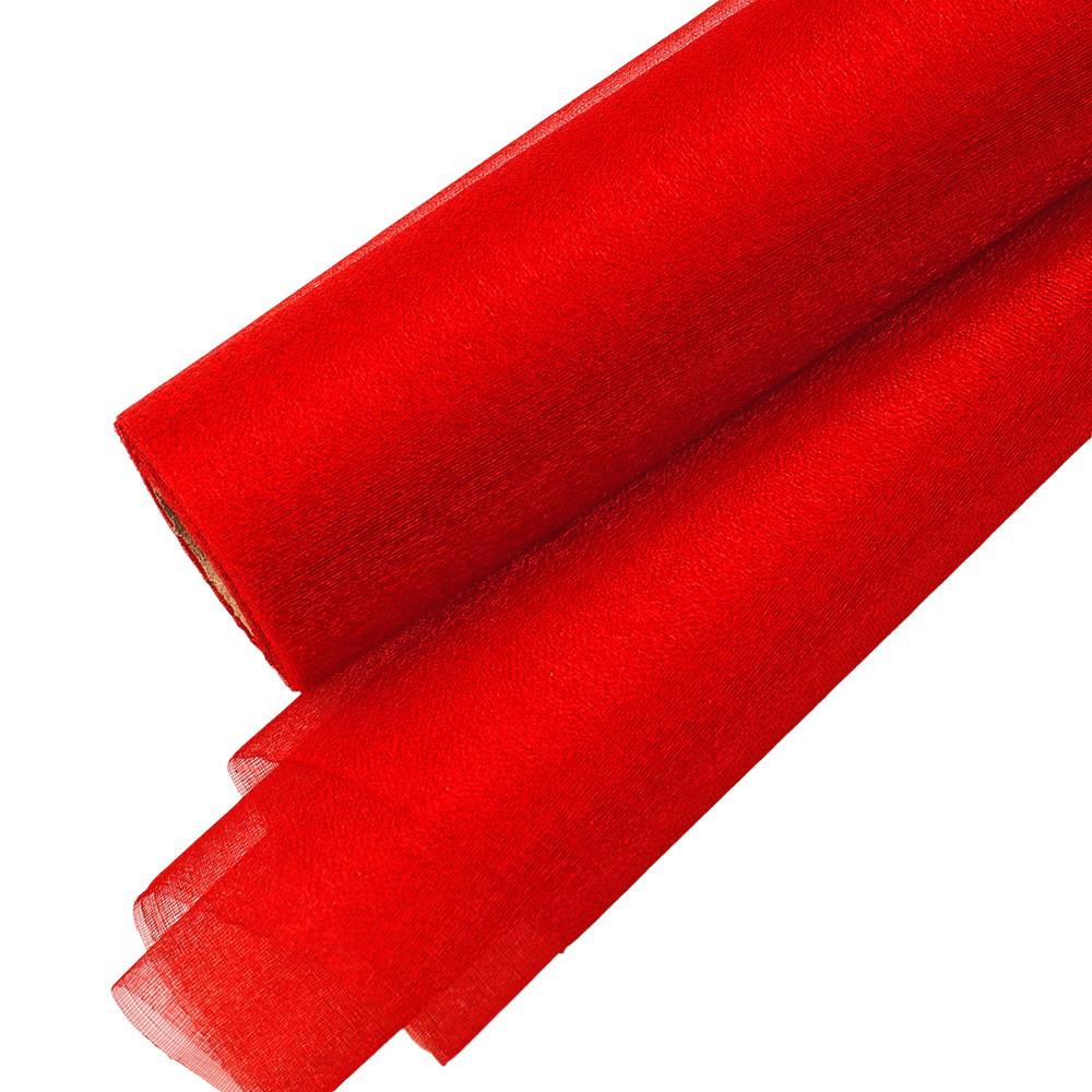Csillogó fényű organza dekoranyag 47cm x 10m - Piros 89e25e4516