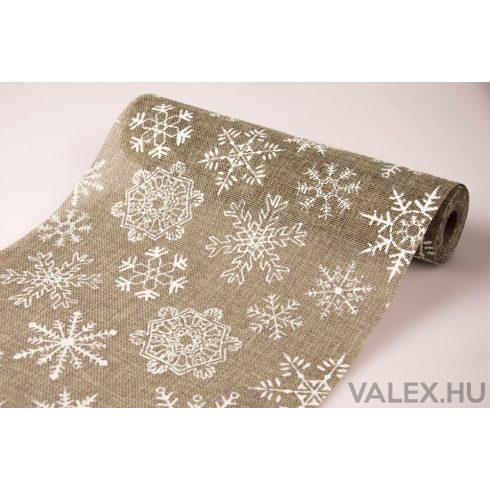 Karácsonyi juta tekercs 29cm x 5m - Nagy hópelyhes