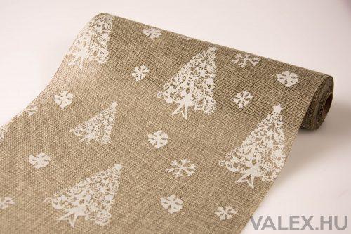 Karácsonyi juta tekercs 29cm x 5m - Karácsonyfás