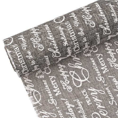 """Karácsonyi szürke juta tekercs 29cm x 5m - """"Merry Christmas"""" feliratos"""