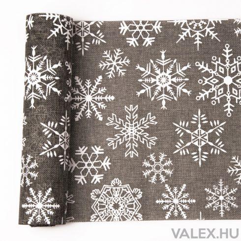 Karácsonyi natúr juta tekercs 29cm x 5m - Nagy hópelyhes