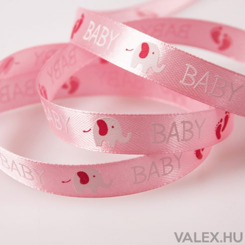 """""""Baby"""" feliratos szatén szalag 12mm x 20m - Rózsaszín"""