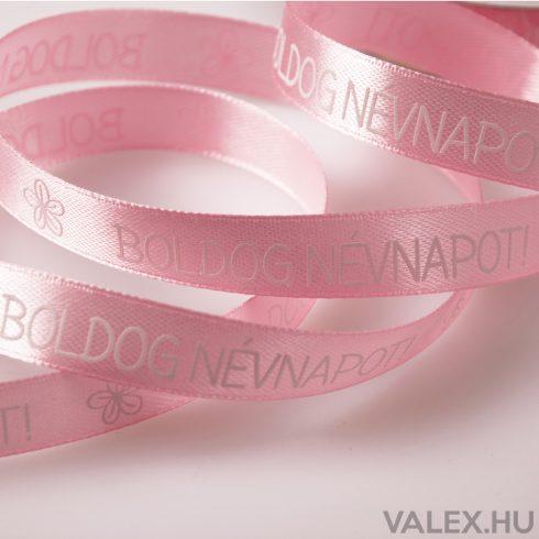 """""""Boldog Névnapot!"""" feliratos szatén szalag 12mm x 20m - Rózsaszín"""
