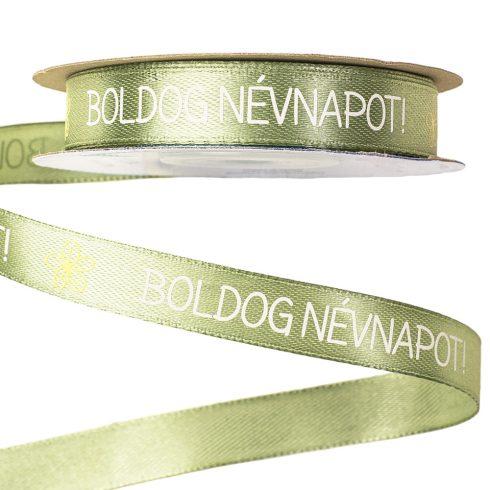 """""""Boldog Névnapot!"""" feliratos szatén szalag 12mm x 20m - Vintage zöld"""