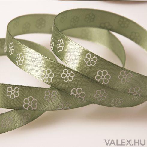 Virágmintás szatén szalag 12mm x 20m - Vintage zöld