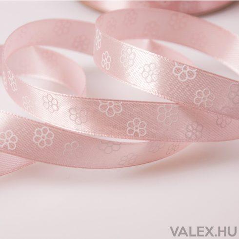 Virágmintás szatén szalag 12mm x 20m - Púder Rózsaszín