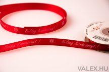 """""""Boldog Karácsonyt"""" feliratos szatén szalag 12mm x 22.86m - Piros"""
