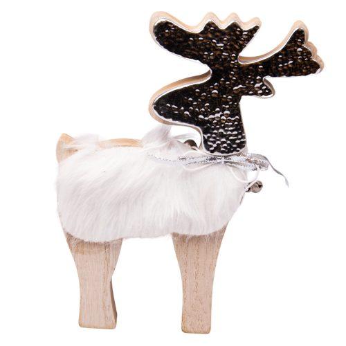 Karácsonyi szőrmés szarvas dekoráció 12cm x 15cm