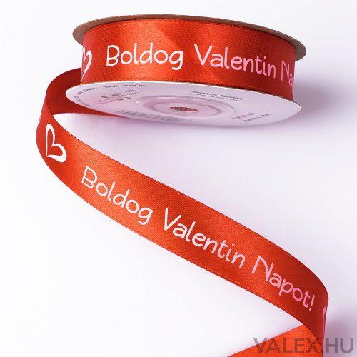 """""""Boldog Valentin napot!"""" feliratos szatén szalag 20mm x 20m - Piros"""