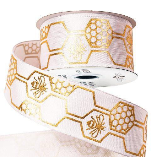 Méhecskés prémium szatén szalag drótos szegéllyel 38mm x 6.4m