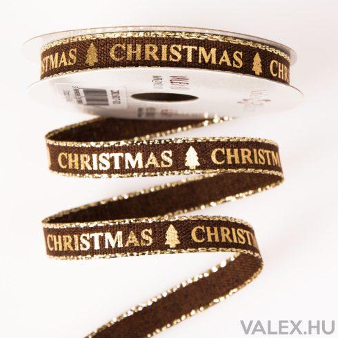 """""""Christmas"""" feliratos karácsonyi vászon szalag 10mm  x 6.4m - Barna"""