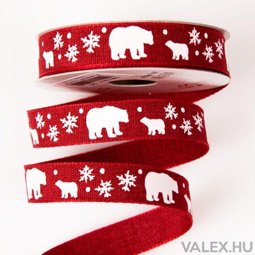 Jegesmacis karácsonyi szalag 16mm x 6.4m - Piros