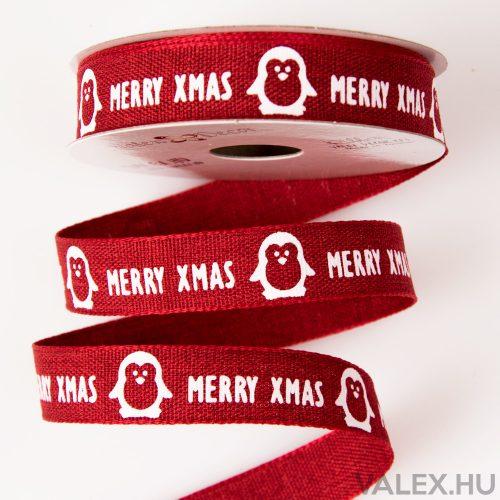 """Pingvines """"Merry Xmas"""" feliratos karácsonyi szalag 16mm x 6.4m - Piros"""
