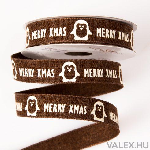"""Pingvines """"Merry Xmas"""" feliratos karácsonyi szalag 16mm x 6.4m - Barna"""