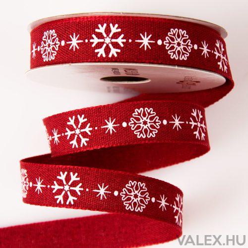 Hópelyhes, piros karácsonyi szalag 16mm x 6.4m