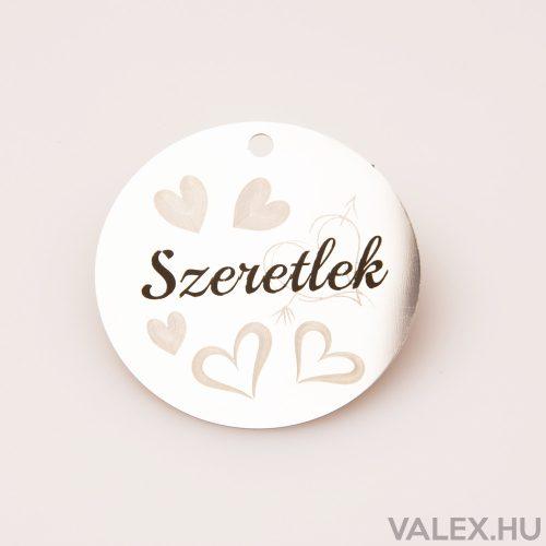 """2db. """"Szeretlek"""" feliratos szívecskés dekor fényes acél tábla 5cm"""
