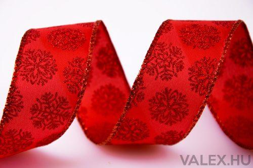 Piros glitter hópihés karácsonyi szatén szalag drótos szegéllyel 38mm x 6.4m - Piros