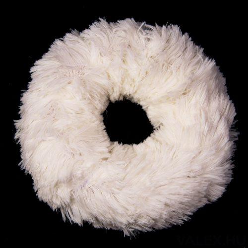 Szőrmés koszorú alap 20cm - Fehér