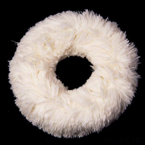 Szőrmés koszorú alap 25cm - Fehér