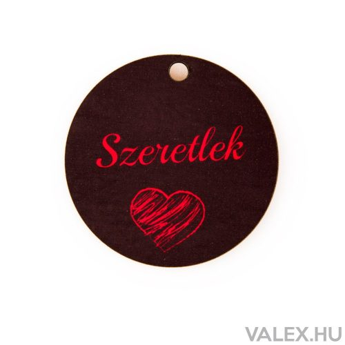 """3db. """"Szeretlek"""" feliratos szívecskés dekor fa tábla 5cm"""