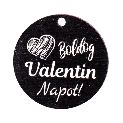 """3db. """"Boldog Valentin Napot!""""  feliratos szívecskés dekor fa tábla 5cm"""