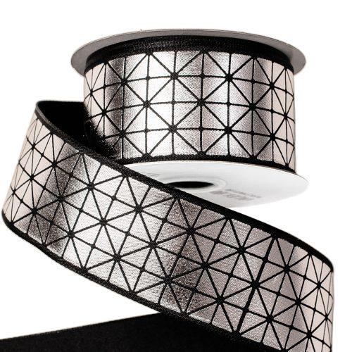 Prémium dekor szalag fényes ezüst mintával drótos szegéllyel 38mm x 6.4m