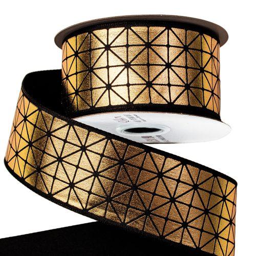 Prémium dekor szalag fényes arany mintával drótos szegéllyel 38mm x 6.4m