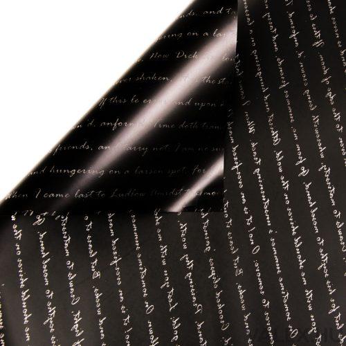 Írás mintás fólia tekercs 58cm x 10m - Fekete