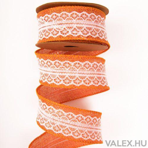 Csipkés juta szalag drótos szegéllyel 4cm x 5m - Narancssárga