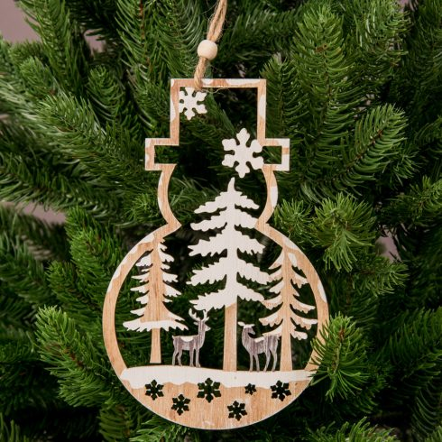 Karácsonyfadísz 11 x 17cm - Fa hóember